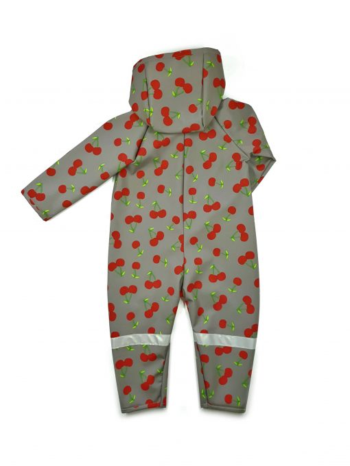 Unisex soft shell jumpsuit with cherry print for kids, toddler, baby, girl, boy