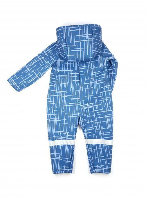 Blue soft shell jumpsuit with stripes
