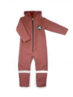 Rusty melange unisex soft shell jumpsuit for kids, toddlers, baby, girls and boys