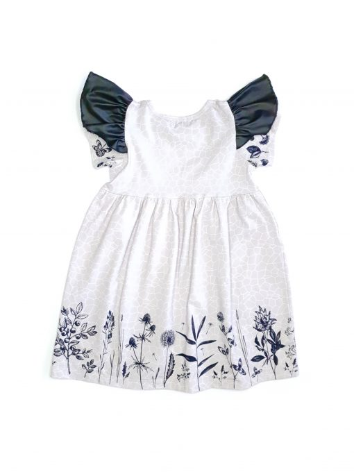 Monochrome flower dress with leather look wings for kids, toddler and baby girls