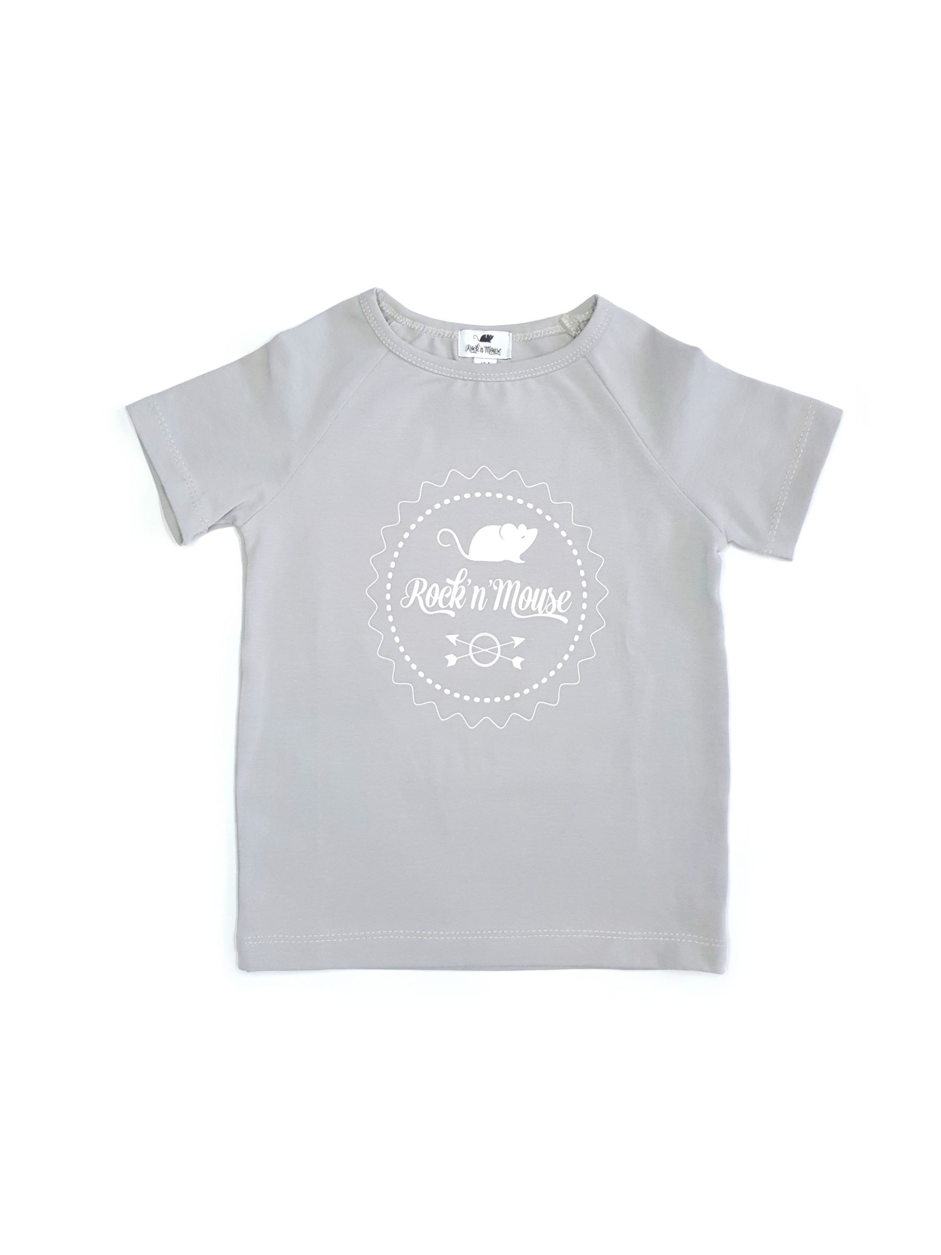 Unisex grey sleeve Rock And Mouse logo T-shirt for kids - toddler and baby boys and girls
