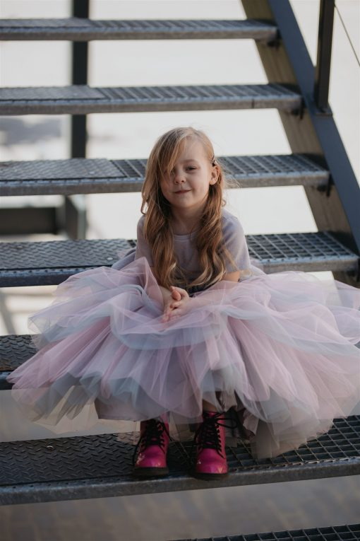 Toddler girls outfit with grey Rock And Mouse T-shirt (baby, kids, boy, girl, toddler, unisex) and tulle mega skirt