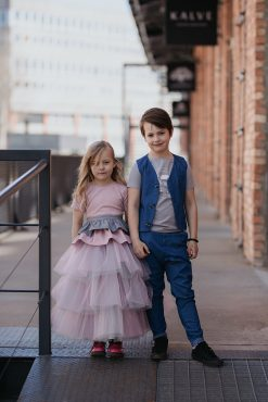 Toddler kids boy and girl outfits. Pink, sparkly peplum top, grey ruffle belt, tulle mega skirt, blue vest and pants with grey Rock And Mouse T-shirt