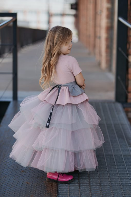 Toddler girls kids outfit with sparkly, pink peplum top, light grey ruffle belt and mega tulle skirt