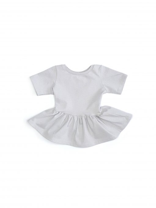 Toddler girl kids sparkly, light grey peplum top