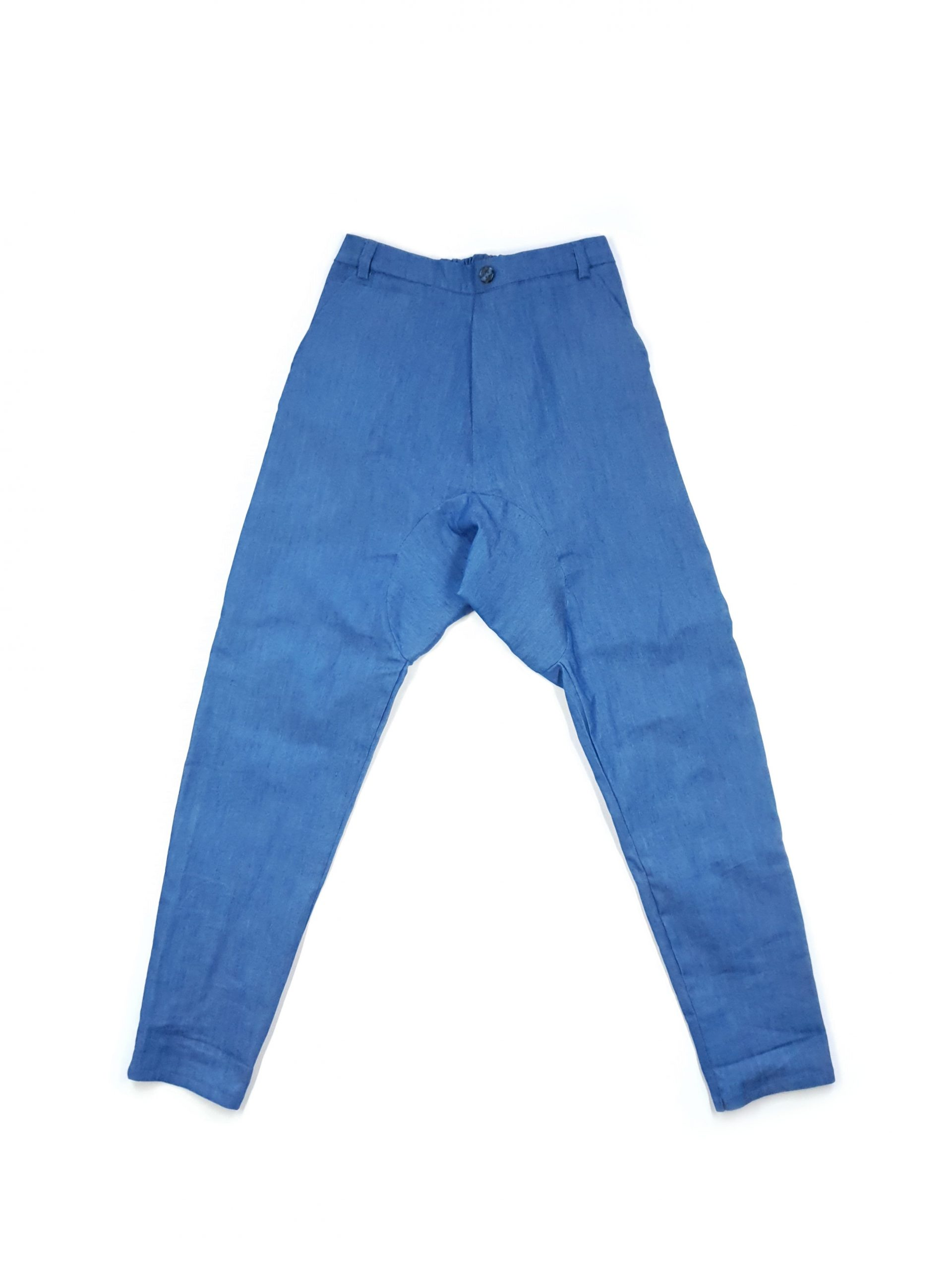Elegant blue denim pants with pockets for kid boys