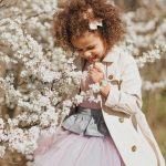 Toddler girl kids outfit with tulle skirt and sparkly, pink peplum top