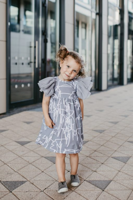 Monochrome tulle wing dress with Rock and Mouse first art dress for kid, baby, girl, toddler
