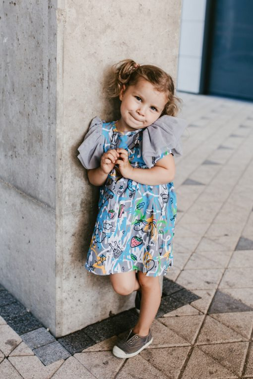 Blue expressions tulle wing dress for kid, baby. girl, toddler
