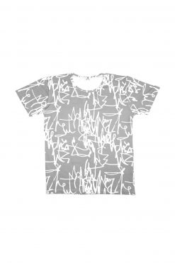 Monochrome dad T-shirt with Rock and Mouse first art print