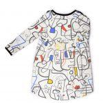 Long sleeve colourful faces jumper dress for girl, kid, toddler