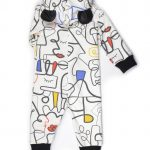 Unisex, comfy overall with colourful faces print and ears for girl, boy, kid, toddler, baby