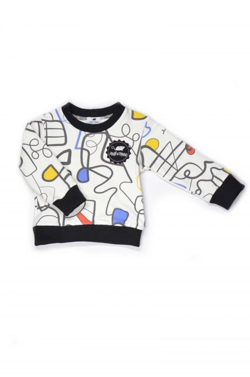Warm and comfy sweater with our unique colourful faces print and black neck and sleeve detail