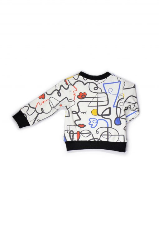Warm and comfy sweater with our unique colourful faces print and black neck and sleeve detail for kid, boy, girl, baby, unisex, toddler