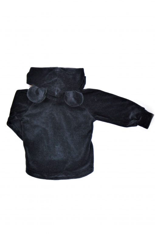 The black unisex velour jacket with ears and logo badge for kid, boy, girl, baby, toddler