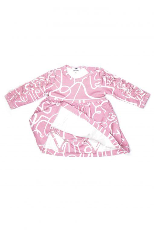Pink faces bodysuit dress for girl, baby, kid