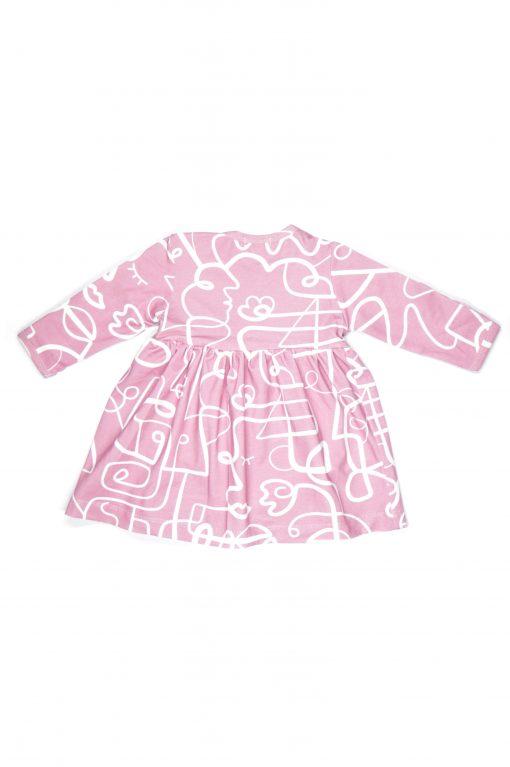 Pink faces bodysuit dress for girl, baby, kid3