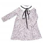 Monochrome splashes collar dress with black velvet ribbon for kids, girls, baby, toddler
