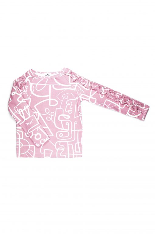 Pink faces shirt with ruffle detail on the sleeves for girl, kid, toddler