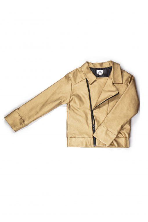 Unisex gold leather look biker jacket for girl, boy, kid, toddler