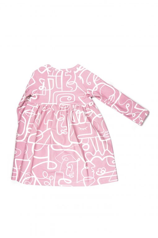 Pink faces dress with ruffles on the sleeves for kids, girls, baby, toddler